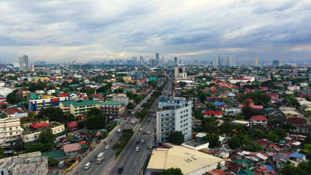 Top view of Panorama of Manila city. Skyscrapers and business centers in a big city. Travel vacation concept Banque d'images