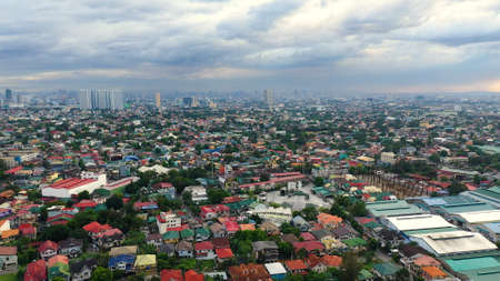 Aerial view of Panorama of Manila city. Skyscrapers and business centers in a big city. Travel vacation concept