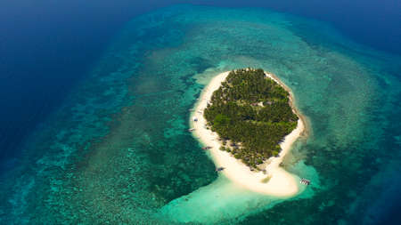 Tropical island with a beach and palm trees. Beautiful lagoon and white sandy beach, aerial view. Digyo Island.