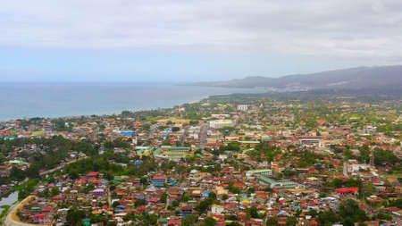 Aerial view of Iligan is a city located on the island of Mindanao, Philippines. Iligan City, Lanao del Norte.