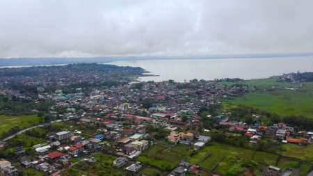 Marawi City and Lake Lanao, Mindanao Island. Marawi city and lake Lanao. Lanao del Sur, Philippines. Zdjęcie Seryjne