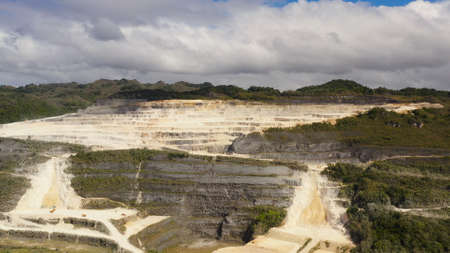 Limestone quarry for the construction industry in the mountains. Bohol, Philippines.
