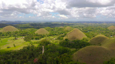Aerial view of Chocolate hills in Bohol island,Philippines. Hills covered with grass and vegetation.
