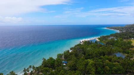 Tropical landscape: beautiful beach and tropical sea. Bohol, Philippines. Summer and travel vacation concept.