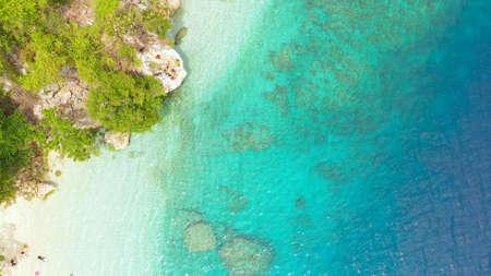Aerial view of sandy beach on a tropical island. Canibad beach, Philippines,Samal island. Zdjęcie Seryjne