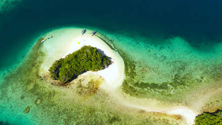 Small Island with beautiful beach, palm trees by turquoise water view from above. Britania Islands, Surigao del Sur, Philippines. Standard-Bild