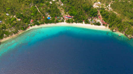 Beautiful beach Canibad, palm trees by turquoise water view from above. Philippines,Samal island.