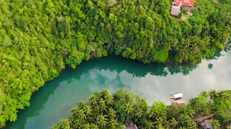 Aerial view of Loboc River in tropical green jungle. Bohol, Philippines. Standard-Bild
