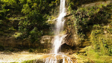 Can-umantad Falls in green forest, aerial drone. Waterfall in the tropical mountain jungle. Bohol, Philippines. Standard-Bild - 156990642