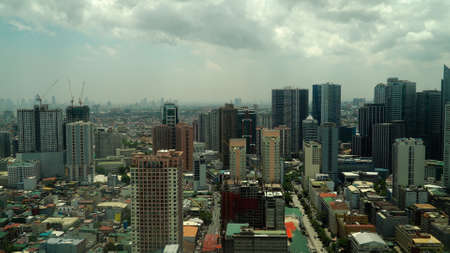 Panorama of Manila city. Skyscrapers and business centers in a big city. Travel vacation concept