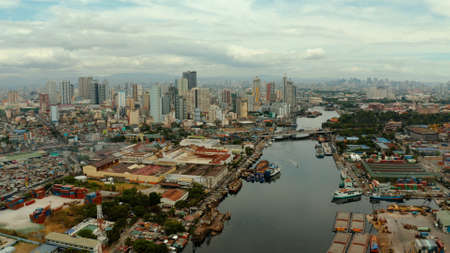 Manila city, the largest metropolis of Asia with skyscrapers and modern buildings. Travel vacation concept.