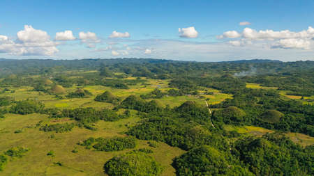Scenic view on amazingly shaped Chocolate hills in Bohol island, Philippines. Фото со стока