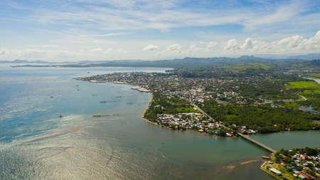 Aerial view of Surigao is a city located on the island of Mindanao, Philippines. City with a dense development in Asia. Surigao del Norte Foto de archivo