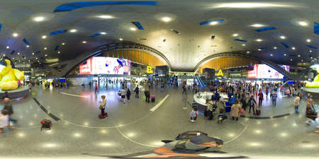 DOHA, QATAR -February 19, 2020 Passengers on metro with transfer in terminal at the Hamad International Airport DOH . 360VR. It is the hub for national carrier Qatar Airways QR . Redakční