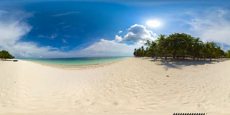 Tropical beach with sea and palm. Beautiful beach and tropical sea. Panglao island, Bohol, Philippines. Summer and travel vacation concept. 360 panorama VR.