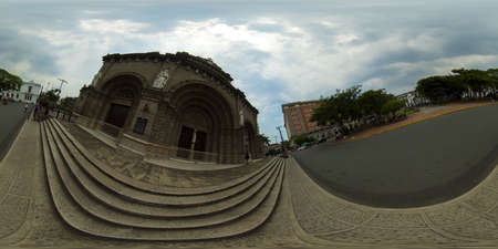 January 5 2020: A Manila: Facade of Manila Cathedral, build in 1571. Manila, Philippines. Manila metropolitan cathedral-basilica. 360VR.