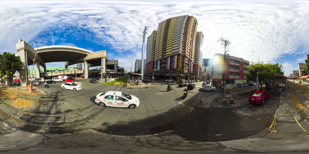 View of traffic on highway.Traffic on the streets of Manila. Philippines. 360VR.
