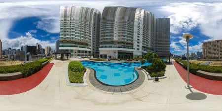 Modern area in Manila, skyscraper with a swimming pool.Makati business center. Travel vacation concept. 360VR.
