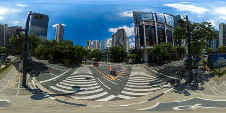 January 5 2020: A Manila: Populous city of Manila, the capital of the Philippines with skyscrapers, streets and buildings.Bonifacio Global City. Travel vacation concept. 360VR.
