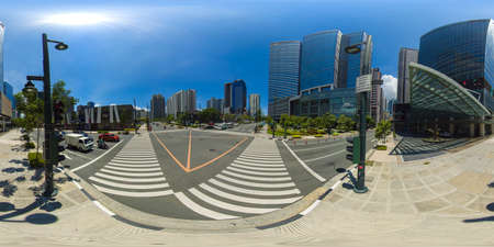 January 5 2020: A Manila: Business center with skyscrapers and modern buildings. Manila city, Philippines. Bonifacio Global City. Travel vacation concept. 360VR. Redakční