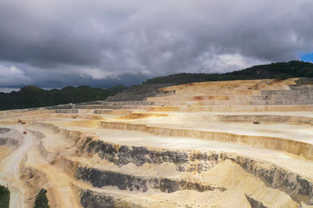 A multi-level limestone quarry in the mountainous part of Bohol Island, Philippines. Reklamní fotografie