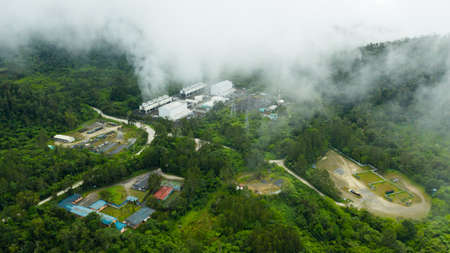 Aerial view of geothermal power production plant. Geothermal power station near to the active volcano Apo. Mindanao, Philippines Reklamní fotografie