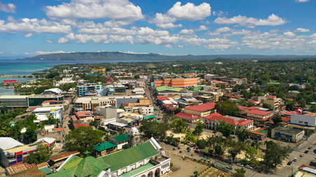 The modern city of Tagbilaran with a seaport and buildings. The capital of Bohol province,Tagbilaran city.