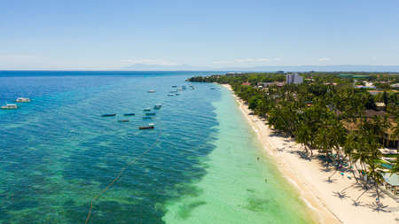 Alona beach, beautiful panoramic sea view, with clean water. Panglao island, Bohol, Philippines. Summer and travel vacation concept. Reklamní fotografie