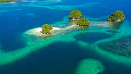 Small Island with beautiful beach, palm trees by turquoise water view from above. Britania Islands, Surigao del Sur, Philippines. Reklamní fotografie