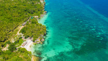 Tropical landscape: beautiful beach and tropical sea. Bohol, Anda, Philippines. Summer and travel vacation concept.
