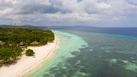 Tropical landscape: beautiful beach and tropical sea. Panglao island, Bohol, Philippines. Summer and travel vacation concept. Reklamní fotografie
