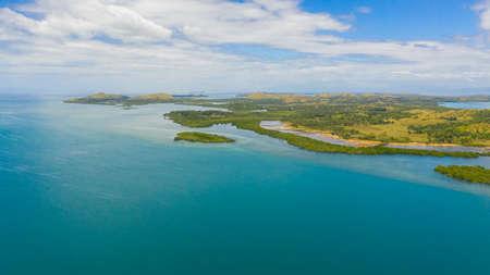 Aerial view of tropical Islands in the Cebu Strait. Seascape: Islands in the sea. Reklamní fotografie