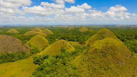 Tropical landscape: Chocolate hills is a famous tourist attraction on the island of Bohol, Philippines.