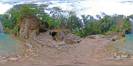 360VR: Inambakan waterfalls in a mountain gorge in the tropical jungle, Philippines, Cebu. Waterfall in the tropical forest. Stok Fotoğraf