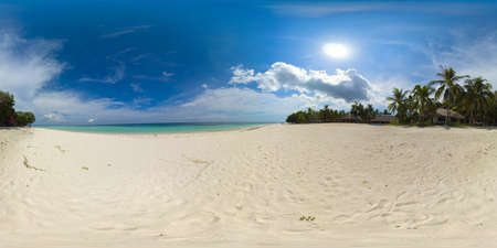 Beautiful tropical beach with white sand, palm trees, turquoise ocean. Panglao island, Bohol, Philippines. 360 panorama VR.