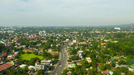 Aerial drone of Zamboanga city. Commercial and industrial center of the Zamboanga Peninsula Region. Mindanao, Philippines.