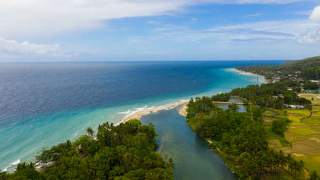 Beautiful tropical beach and turquoise water view from above. Bohol, Philippines. Summer and travel vacation concept.