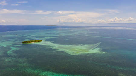Tropical island in the middle of a coral reef . Summer and travel vacation concept. Panglao, Philippines. Stok Fotoğraf