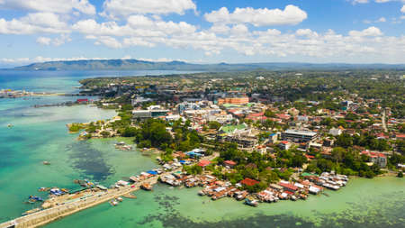 City of Tagbilaran is close to the sea, with a dense development and buildings. The capital of Bohol province,Tagbilaran city, Philippines. Stok Fotoğraf