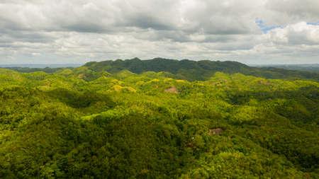 Mountain landscape with green hills. Bohol, Philippines. Summer landscape. Stok Fotoğraf