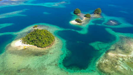 Aerial view of sandy beach on a tropical island with palm trees. Britania Islands, Surigao del Sur, Philippines. Stok Fotoğraf