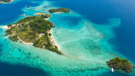 Aerial view of sandy beach on a tropical island with palm trees. Malipano island, Philippines, Samal.