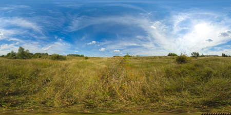 Rustic landscape with meadow and tall grass on a Sunny day. Field and grass under a blue sky with clouds. 360VR. Standard-Bild