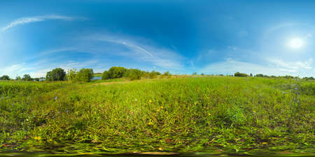 Landscape with a field, lake and green grass in the summer season. Rural landscape with pasture. 360VR. Standard-Bild