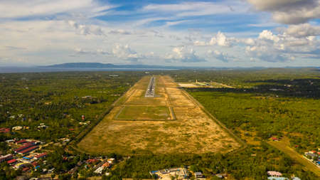Aerial drone of Panglao International Airport is a new airport on Panglao Island in the province of Bohol, Philippines. Stok Fotoğraf