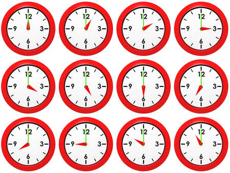 Set of red wall-clocks with different time