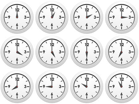 Set of white wall-clocks with different time Stock Photo - 12682017