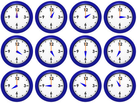 Set of blue wall-clocks with different time Stock Photo - 12682023