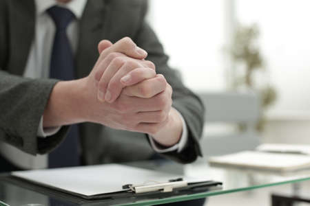 The manager works in the office. Favorable negotiation concept