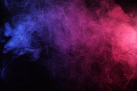 Smoke in red-blue light on black background Archivio Fotografico